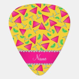 Custom name yellow pink cosmos limes guitar pick