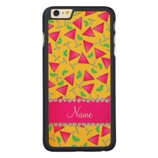 Custom name yellow pink cosmos limes carved® maple iPhone 6 plus slim case