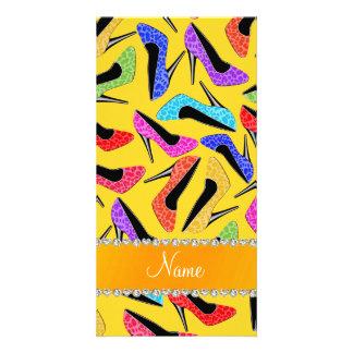 Custom name yellow rainbow leopard high heels photo card