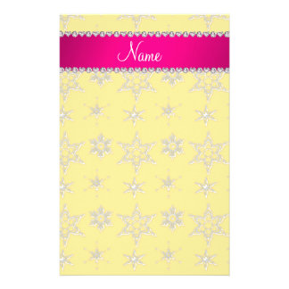 Custom name yellow silver snowflakes pink stripe customized stationery