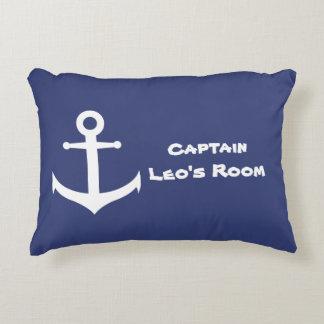 Custom Nautical Anchor Blue & White Accent Pillow