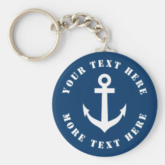 Custom nautical anchor keychain for boat captain