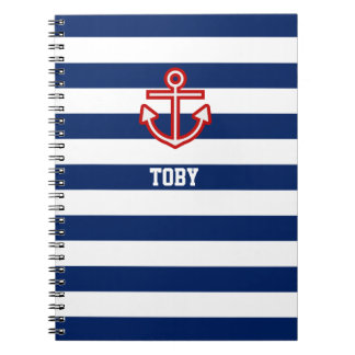 Custom Nautical Anchor Navy Blue White Stripes Spiral Notebook