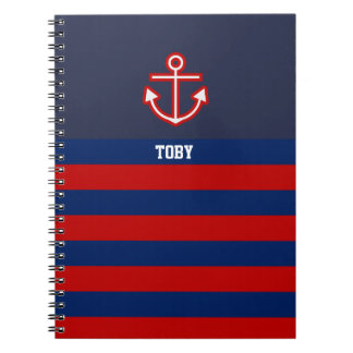 Custom Nautical Anchor Navy Red Stripes Spiral Notebook