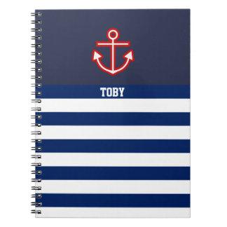 Custom Nautical Anchor Navy White Stripes Notebooks