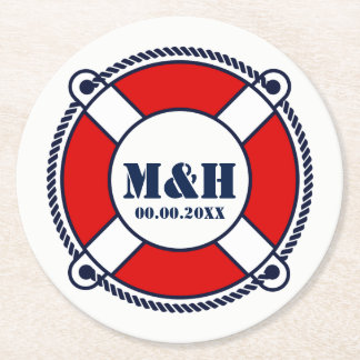 Custom nautical buoy monogram wedding coasters