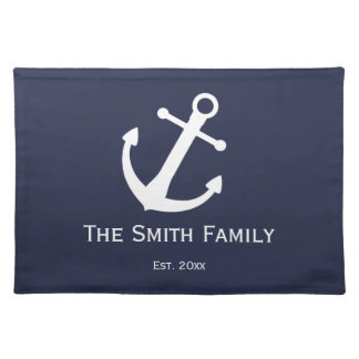 Custom Nautical Midnight Blue and White Placemat