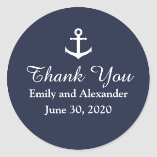 Custom Nautical Wedding Thank You Sticker