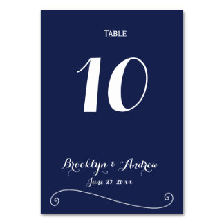 Custom Navy Blue And White Wedding Table Numbers Table Cards