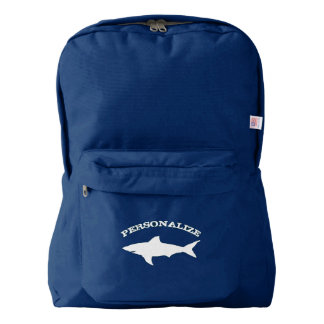 Custom navy blue backpack with shark fish design