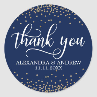 Custom Navy Blue Gold Confetti Wedding Thank You Classic Round Sticker