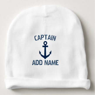 Custom navy blue nautical anchor boat captain cute baby beanie