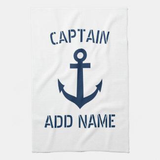 Custom navy blue nautical anchor boat captain tea towel