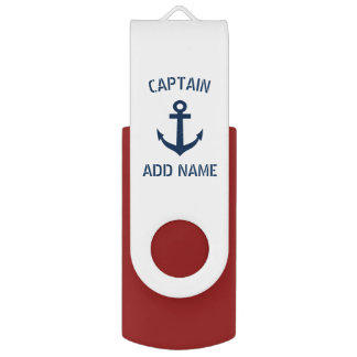Custom navy blue nautical anchor boat captain USB flash drive
