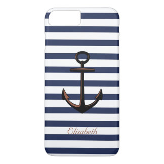 Custom Navy Blue Nautical Brass Anchor iPhone 8 Plus/7 Plus Case