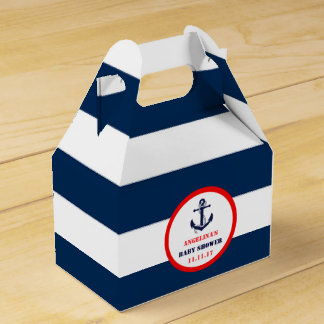 Custom Navy Blue Red Boy Nautical Baby Shower Party Favour Boxes