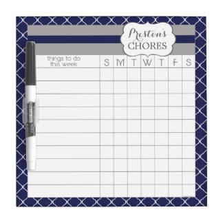 Custom Navy Blue Trellis Dry Erase Chore Board