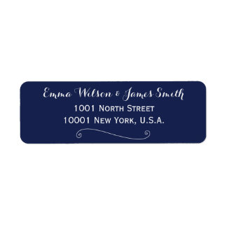Custom Navy Blue White Personalized Address Labels