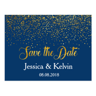 Custom Navy Gold Foil Confetti Save the Date Postcard