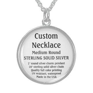 Custom Necklace - SOLID SILVER, Medium Round Round Pendant Necklace