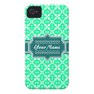 Custom Neon Green and Teal Decorative Pattern iPhone 4 Case-Mate Case