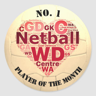 Custom Netball Award Player Reward Round Sticker