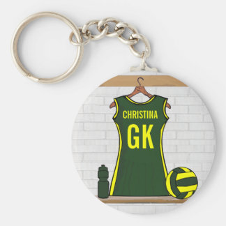 Custom Netball Uniform Green with Yellow Basic Round Button Key Ring