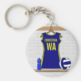 Custom Netball Uniform Navy yellow Basic Round Button Key Ring