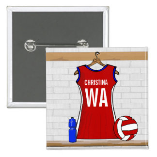 Custom Netball Uniform Red with Blue and White 15 Cm Square Badge