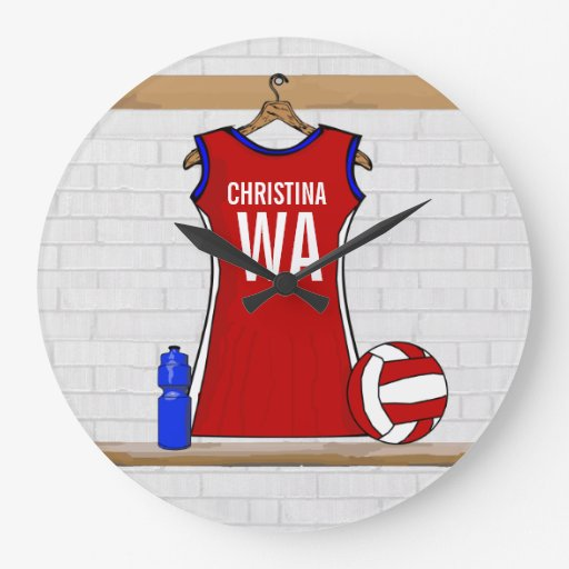 Custom Netball Uniform Red with Blue and White Wall Clock