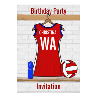 Custom Netball Uniform Red with Blue and White Custom Announcements