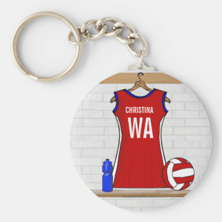 Custom Netball Uniform Red with Blue and White Key Chain
