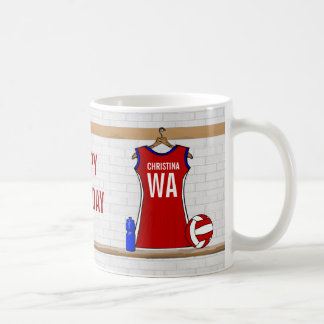 Custom Netball Uniform Red with Blue and White Classic White Coffee Mug