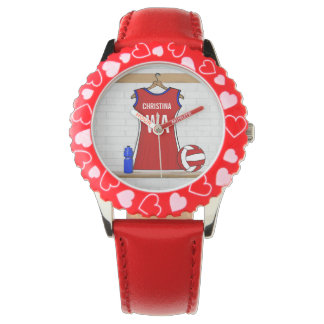 Custom Netball Uniform Red with Blue and White Watches