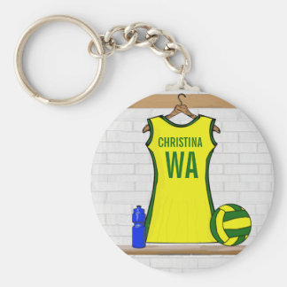 Custom Netball Uniform Yellow and Green Basic Round Button Key Ring