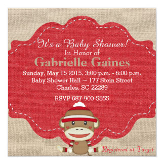 Custom Neutral Sock Monkey Baby Shower Card