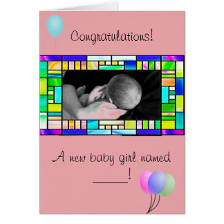 Custom New Baby Girl Congratulations Card