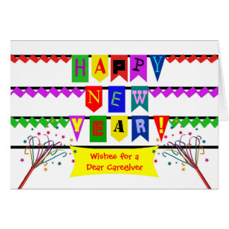 Custom New Year for a Caregiver, Flags and Banner Card