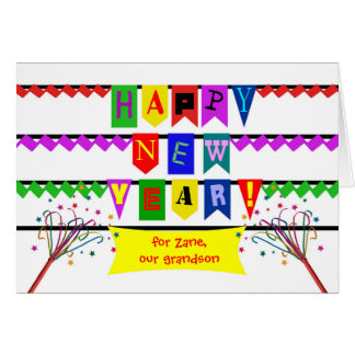 Custom New Year for Grandson, Colorful Flags Fonts Card