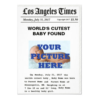 Custom News Paper Birth Announcement
