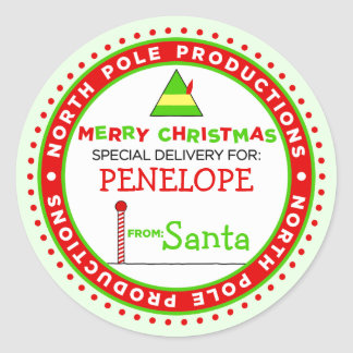 Custom North Pole Productions Gift Tag Round Sticker