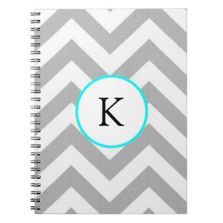 Custom Notebook - Design: Grey Chevron w/Monogram