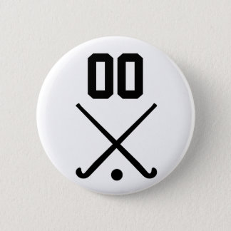 Custom Number Team Field Hockey 6 Cm Round Badge