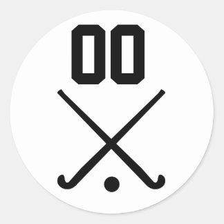 Custom Number Team Field Hockey Round Sticker