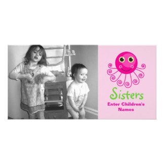 Custom Octopus Big Sister Child's Name Photo Greeting Card