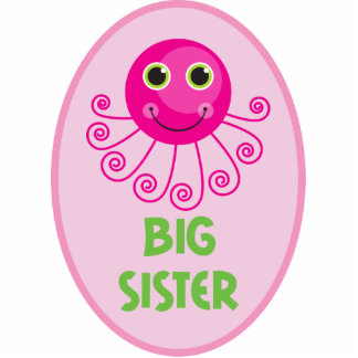 Custom Octopus Big Sister Child's Name Standing Photo Sculpture