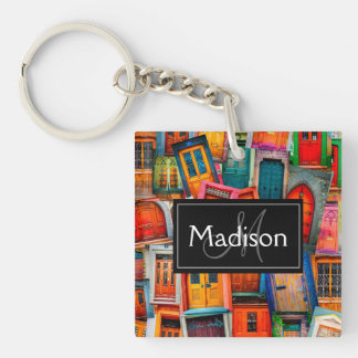 Custom Old Doors Unique Colorful Modern Key Ring