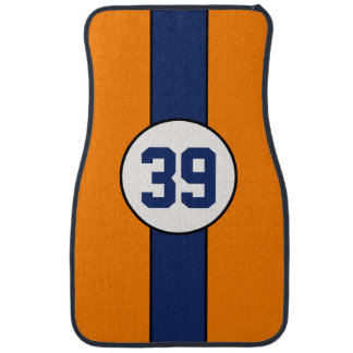 Custom Orange and Blue Stripe car mats Floor Mat