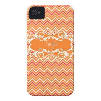 Custom Orange Chevron Iphone Case Case-Mate iPhone 4 Cases