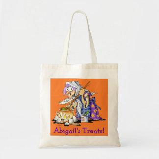 Custom Orange Halloween Treat Bags - Purple Witch